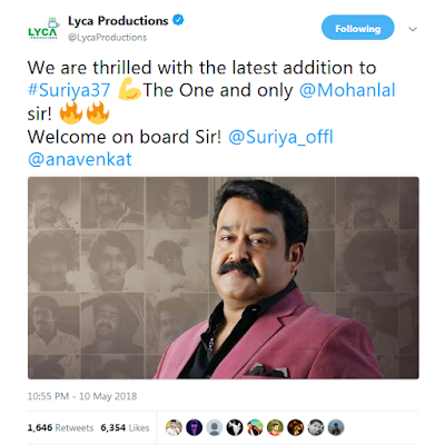 Lyca_Productions_Surya37_tweet_Mohanlal_surya