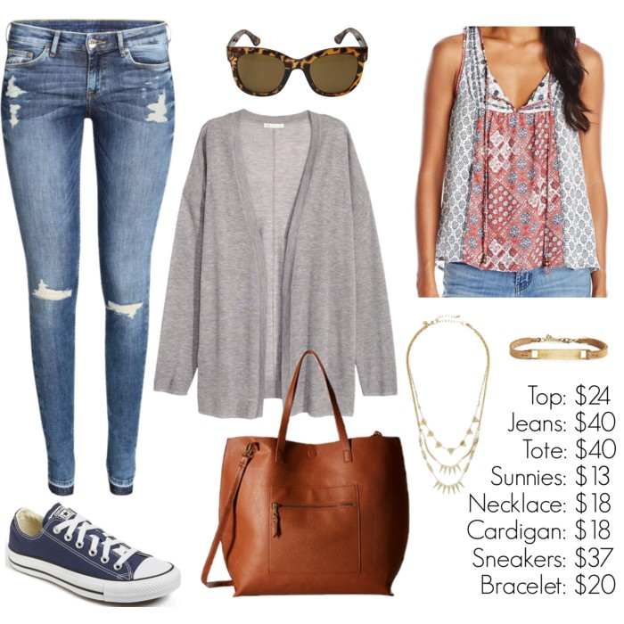 Perfect fall fashion with a printed top, cardigan, skinny jeans, Converse sneakers and a tote! Casual outfit, outfit inspiration, Under $50 outfit