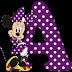 Abecedario de Minnie en Morado con Lunares Blancos. Minnie Alphabet in Purple with White Polka Dots.