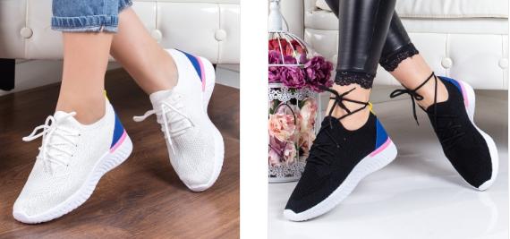 Pantofi sport moderni ieftini de dama negri, albi din material textil