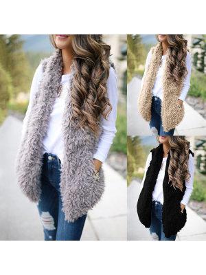 Solid Color Fashion Cashmere Long Vest Jacket