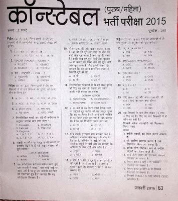 CSBC Siphai & Police SI & Constable Model Questions Papers 2017 Bihar Police Exam Syllabus & Pattern 2017