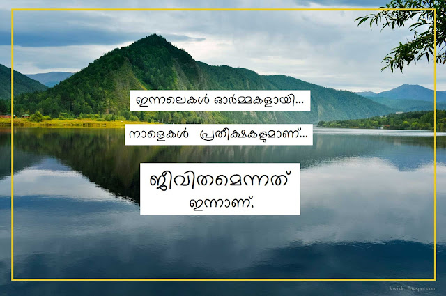 Life today tomorrow landscape Image Malayalam quote with black text and white background yellow border