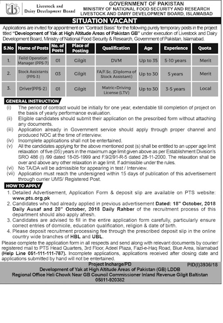 Ministry Of National Food Security and Research Jobs 2019 | Latest Advertisement
