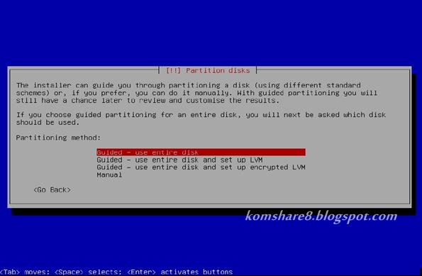 Pilih paling atas sendiri pada partition disk