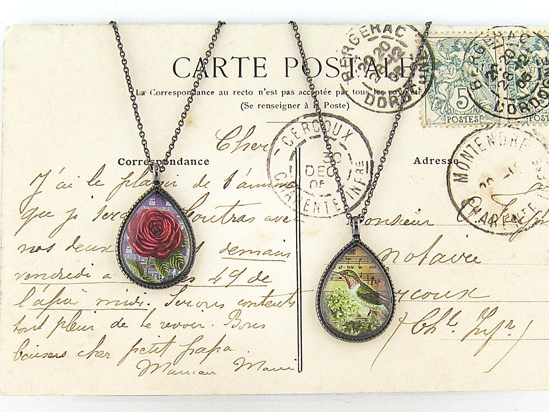 LAVISHY vintage style handmade reversible pedant necklace feature rose and hummingbird print