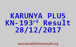 KARUNYA PLUS Lottery KN 193 Results 28-12-2017