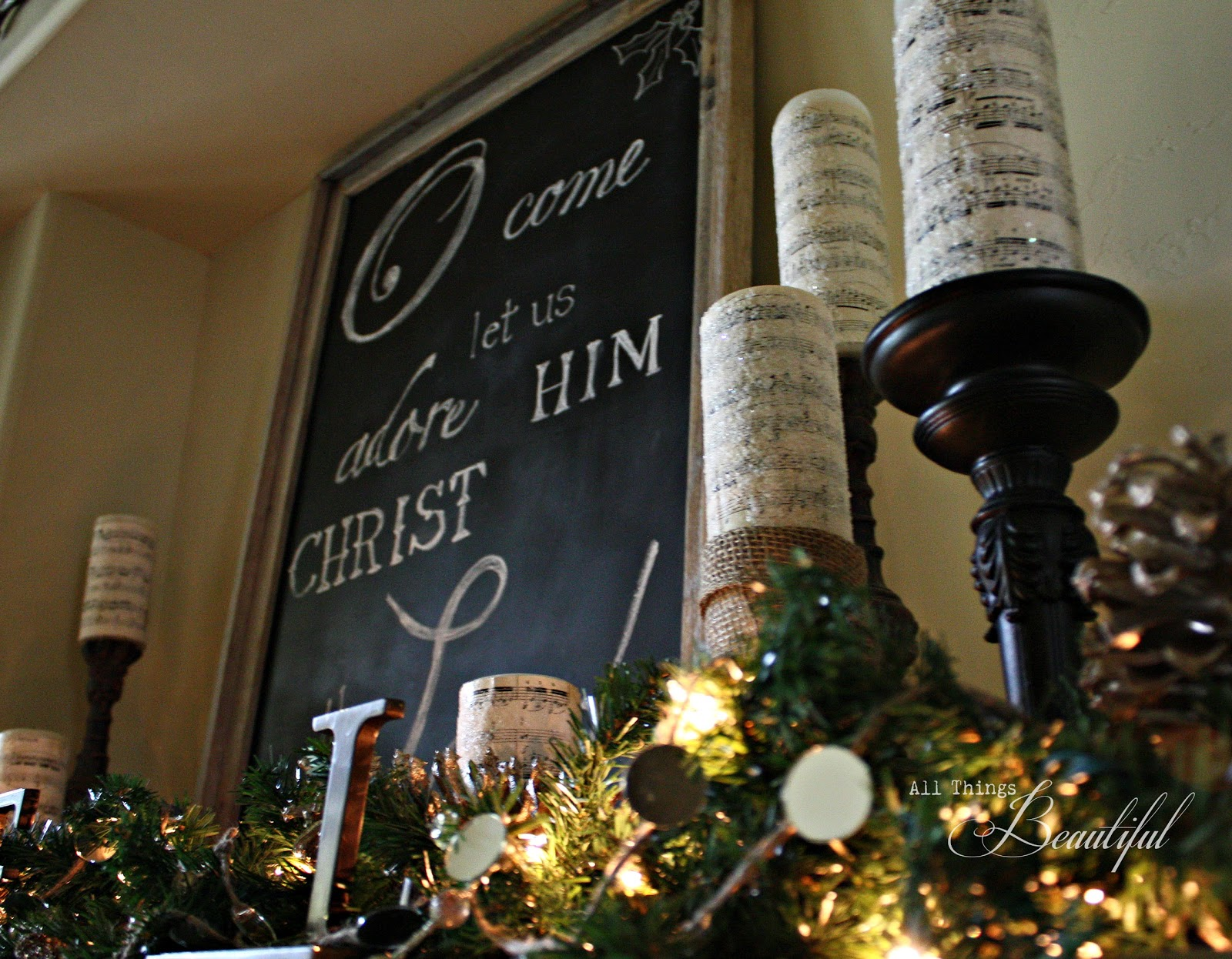 All Things Beautiful: Glittery Iced {Christmas Mantle}