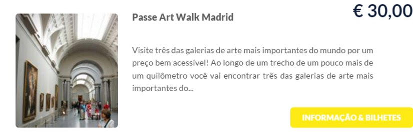 Madri - compre ingressos on-line para as atrações - passe Art Walk madrid - Ticketbar
