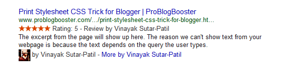 Star rating example in Google search results