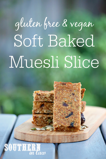 Healthy Soft Baked Gluten Free Muesli Slice Recipe - low fat, gluten free, sugar free, clean eating recipe, vegan, healthy, nut free, soy free