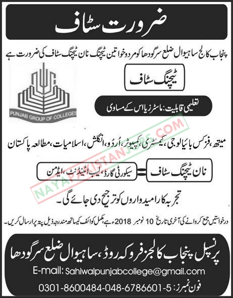 Latest Vacancies Announced in Punjab Group Of Colleges Sargodha 24 October 2018 - Naya Pakistan