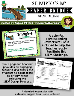 St. Patrick's Day STEM Challenge asks the students to create a paper bridge that will hold 100 pennies for 30 seconds to help the leprechaun transfer his gold coins to the bank.  Available versions for Grades 3-5 and Grades 5-8.