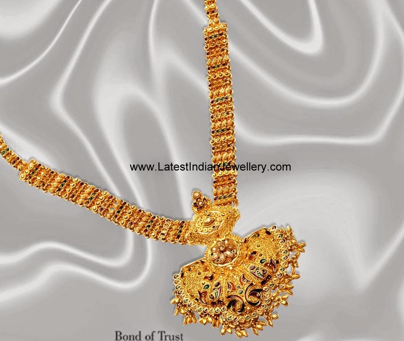 22 Carat Gold Mini Haram Latest Indian Jewellery Designs