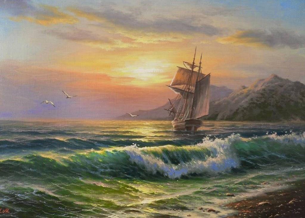 pintura moderna y fotograf a art stica paisajes marinos modernos pintados al leo. Black Bedroom Furniture Sets. Home Design Ideas