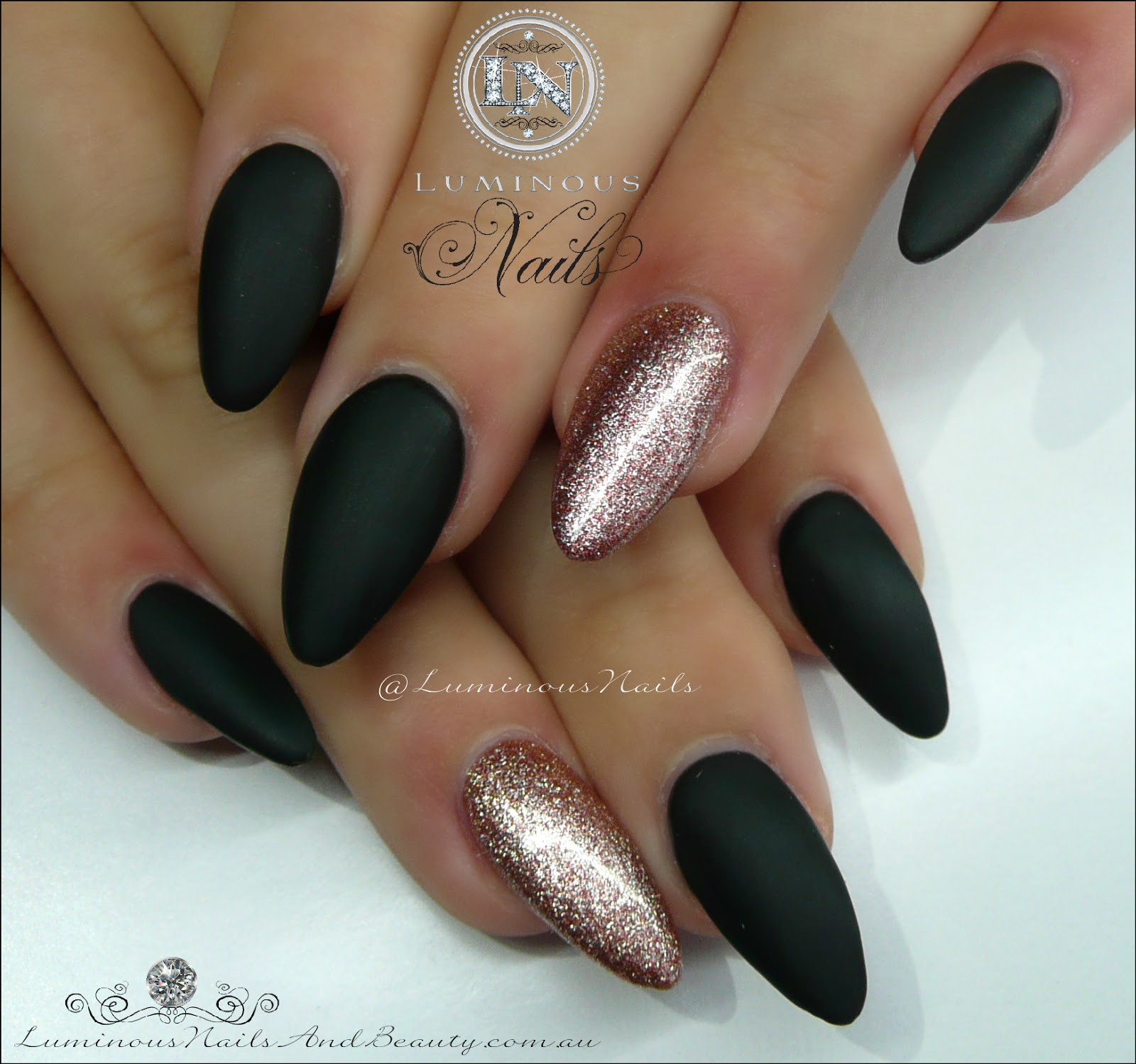Luminous Nails: Matt Black & Rose Gold... Acrylic & Gel Nails