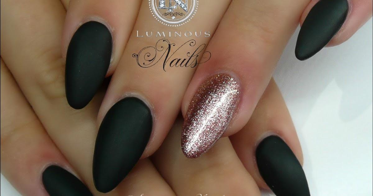 Luminous Nails: Matt Black & Rose Gold... Acrylic & Gel Nails