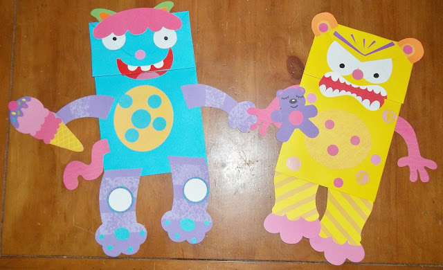 Cute monster paperbag puppets video monster trouble for Brown paper bag crafts for preschoolers