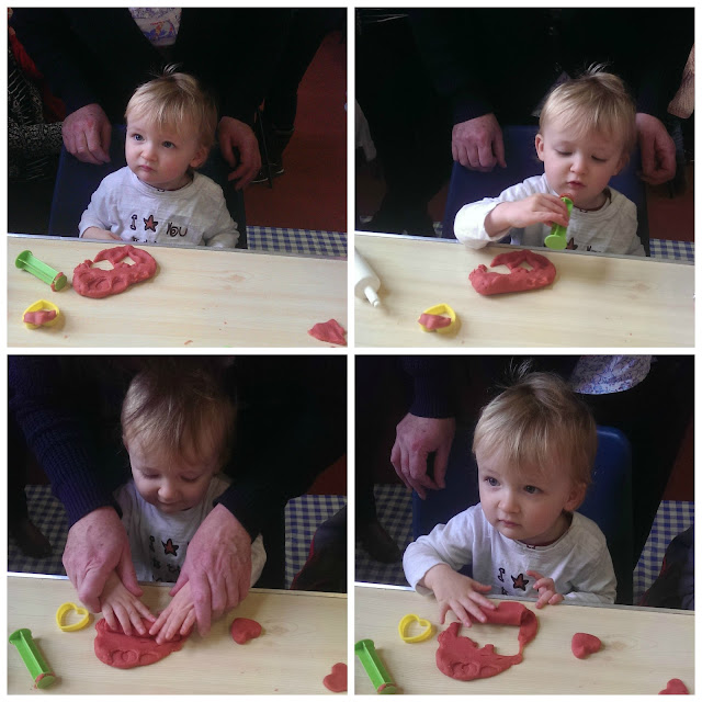 collage of 4 pictures of toddler playing with play dough