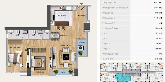 Mặt bằng căn hộ D-12 chung cư Mon Central