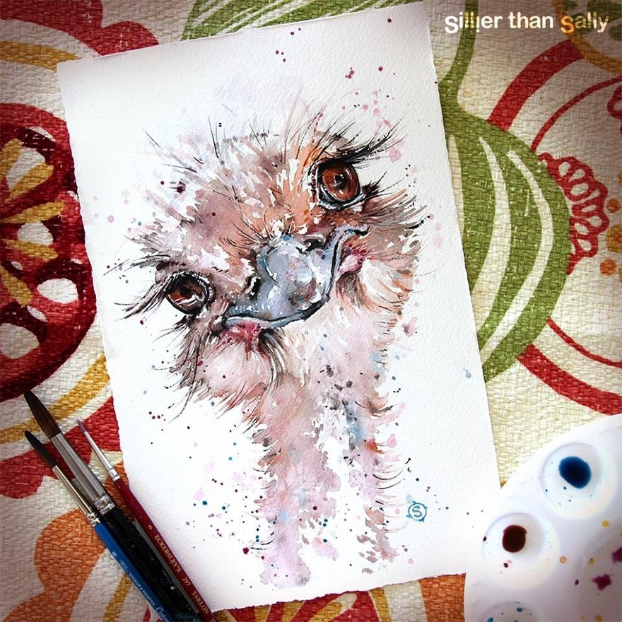 03-Dipsy-ostrich-Sally-Walsh-sillierthansally-Watercolour-Portraits-Paintings-of-Wildlife-www-designstack-co