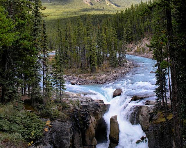 Late Fall Wallpaper Nature Sunwapta Falls Jasper National Park Canada