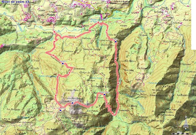 Mapa de la ruta de las Foces del Río Pendon y Pico Varallonga