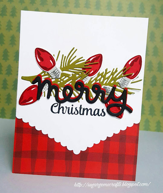 Sunny Studio Stamps: Merry Sentiments Christmas Card by Lenae at SugarGems