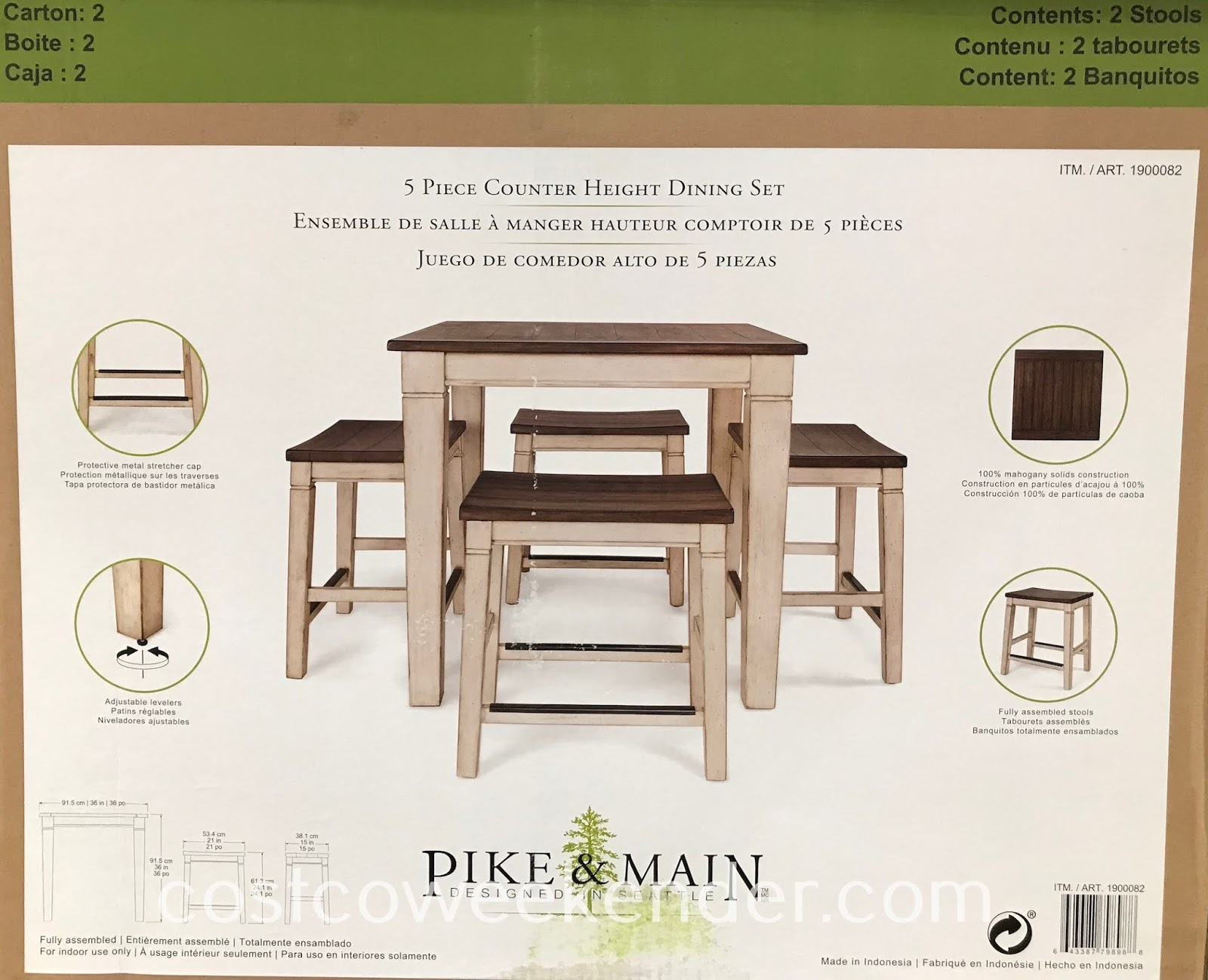 The Pike & Main 5-piece Counter Height Dining Set is perfect for apartments or other small spaces