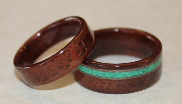 Black Walnut Wood Rings with turquoise and greyed maple inlays