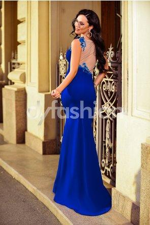 Rochie Albastra de Seara cu Broderie lunga cu spate decupat de lux