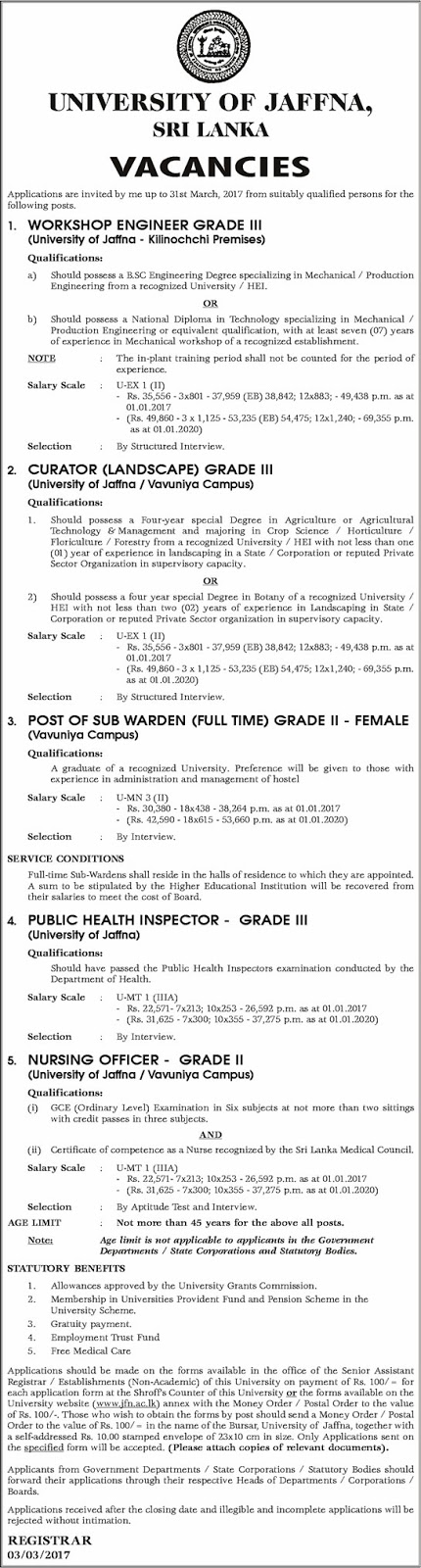 Sri Lankan Government Job Vacancies at University of Jaffna for Workshop Engineer, Curator (Landscape), Sub Warden (Female), Public Health Inspector, Nursing Officer