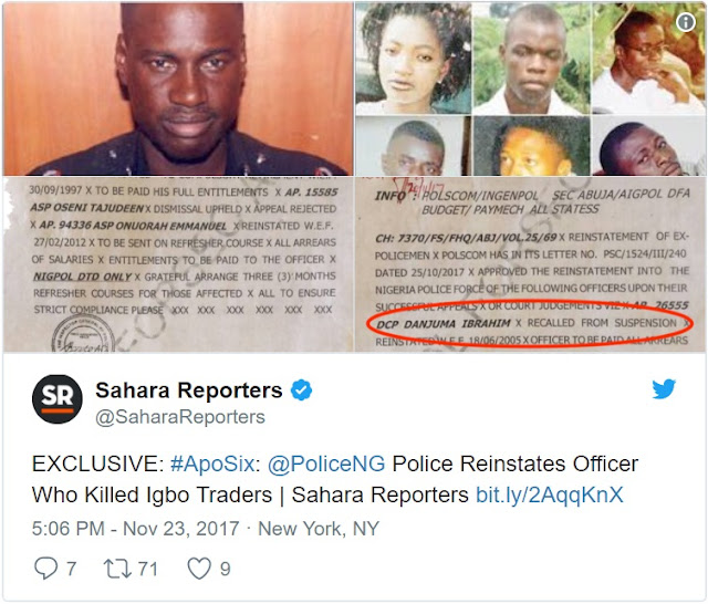 #ApoSix: Nigerian Police Reinstates Officer Who Killed Six Igbo Traders in Abuja (See Documents)