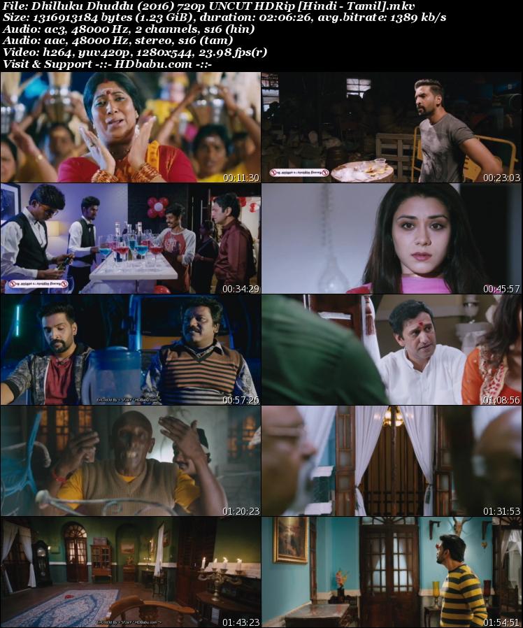 Dhilluku Dhuddu 2016 Hindi Dual Audio Full Movie Download, Rajmahal 3 2017 Hindi Dubbed Full Movie Download Free, Dhilluku Dhuddu UnCut 720p HDRip 1GB Hindi Dual Audio Tamil 480p HDRip Free Download MKV Mp4 HD