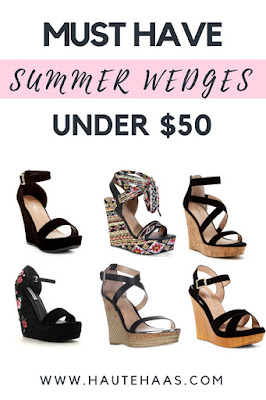 Must Have Wedges Under $50: High-End vs. High-Fashion http://www.hautehaas.com/2018/05/must-have-black-summer-wedges-save-or.html