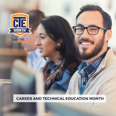 Poster featuring students working on computers.  One male is smiling  at camera.  Text: Career and Technical Education (CTE) Month Celebrate Today.