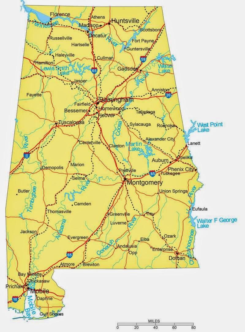 State Of Alabama Road Map - Free Printable Maps on architecture of alabama, school of alabama, education of alabama, hate of alabama,