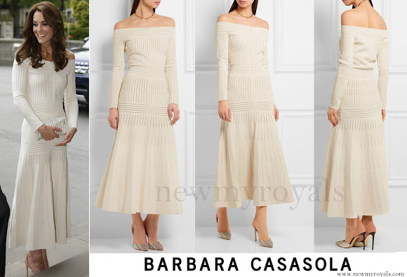 Kate Middleton wore BARBARA CASASOLA Shoulder Knit Dress