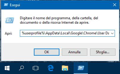 Aprire cartella User Data di Chrome da Esegui