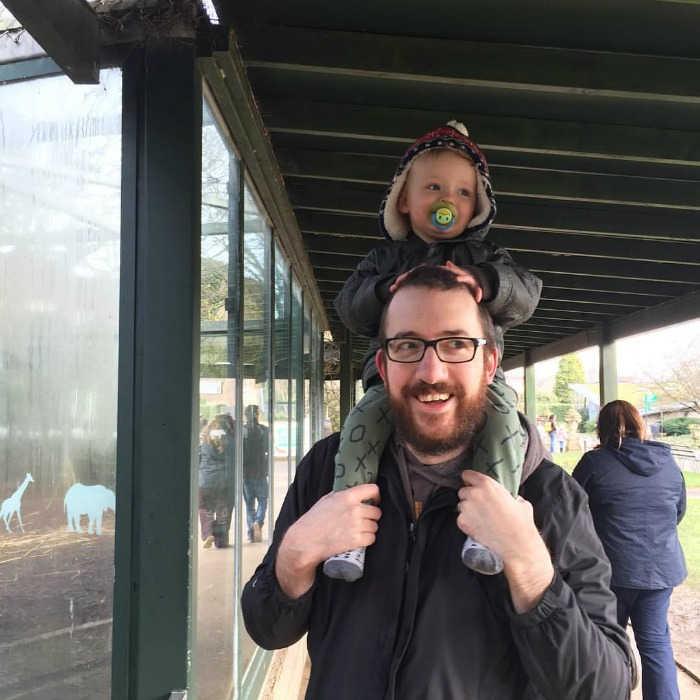 Squidge on Daddy's shoulders at Bristol Zoo