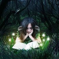Fantastik bir ormanda ışıklı çiçekler altında masal kitabı okuyan kız çocuğu