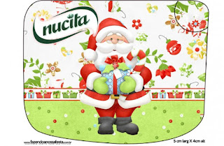 Etiqueta Nucita de Santa en Fondo Verde para imprimir gratis.