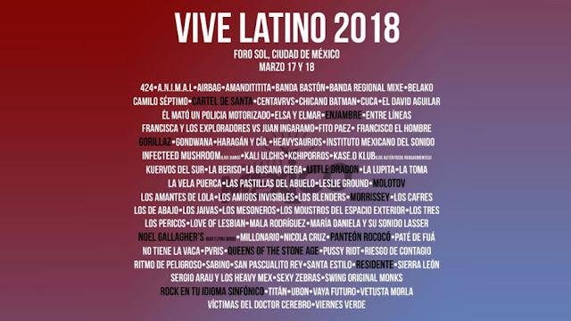 Festival Vive Latino 2018: Fechas Bandas y  Conciertos