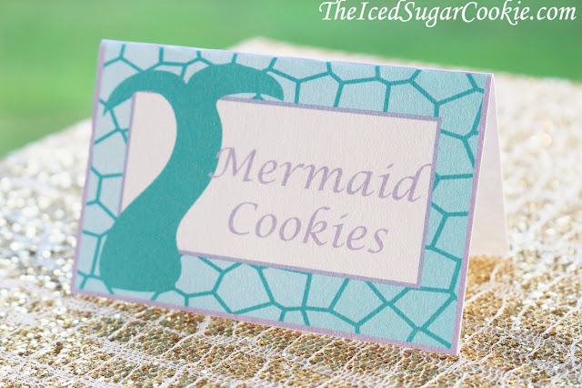 Purple And Aqua Mermaid Food Cards Printable Template For A DIY Mermaid Birthday Party