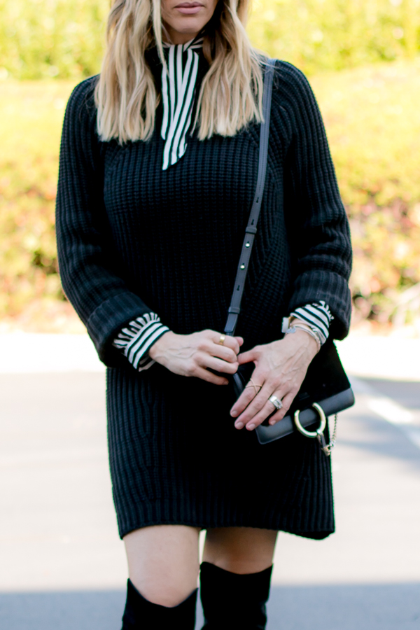 black and white striped blouse under dress