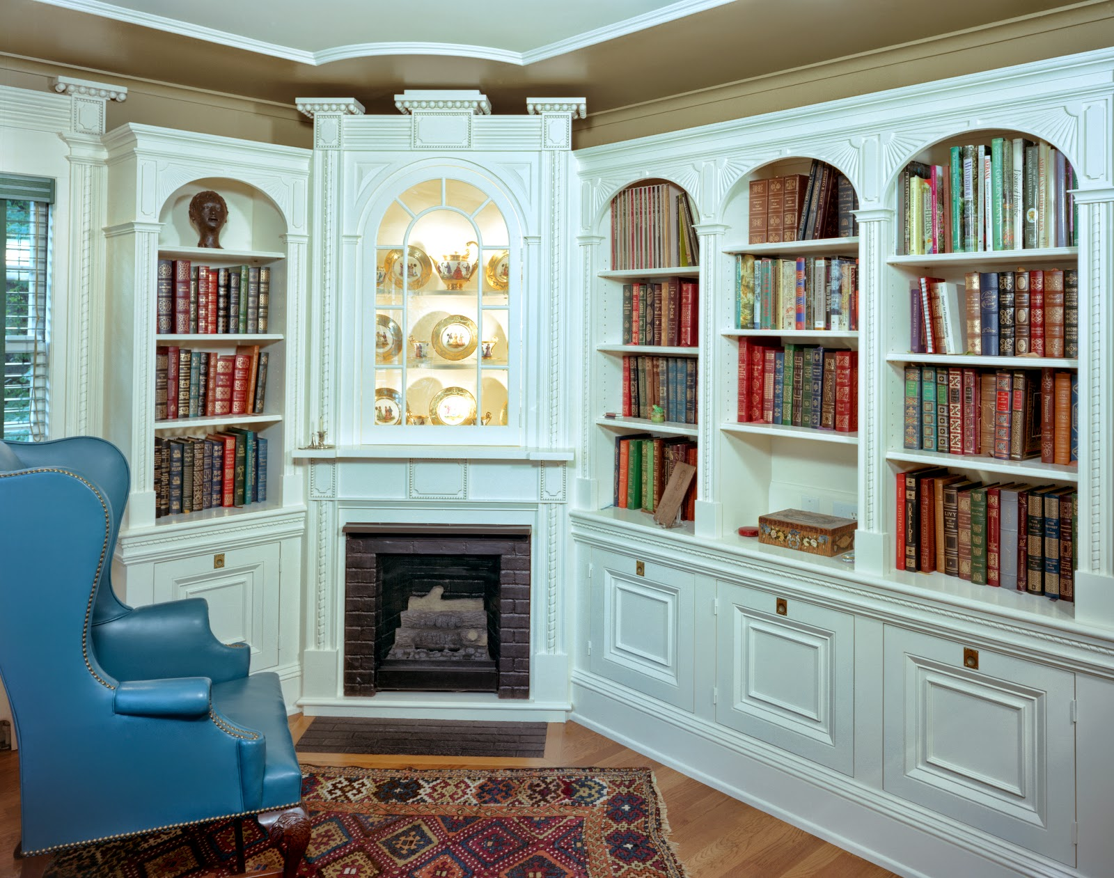 various decorative elements of the original library together with the requirements of a modern home