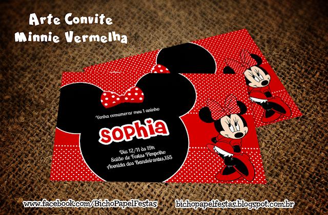 Arte convite Minnie Vermelha
