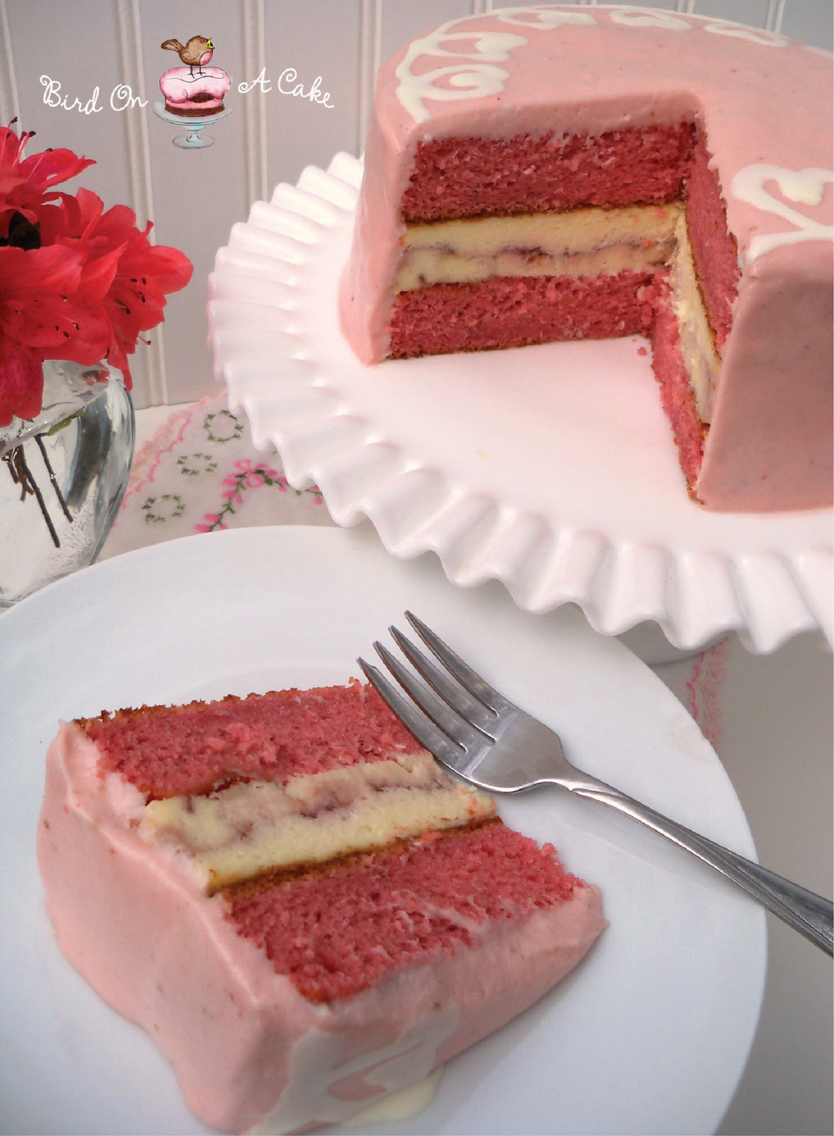strawberry cheesecake cake bird on a cake strawberry swirl cheesecake cake 7740