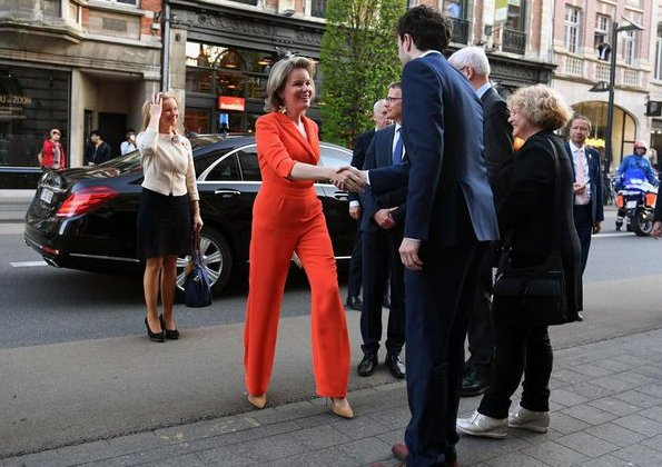 Queen Mathilde of Belgium visited Academics for Development at Leuven Catholic University (KU Leuven). Queen Mathilde wore Natan crepe jumpsuit