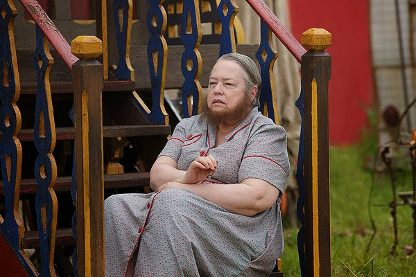 Kathy Bates as Ethel Darling the bearded lady in American Horror Story Freak Show Season 4 Episode 1 Monsters Among Us
